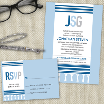 Monogram Tallit Bar or Bat Mitzvah Stationery Suite
