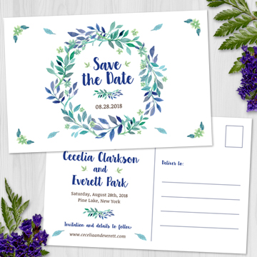 Watercolor Floral Blue Green Wedding Wreath Save the Date