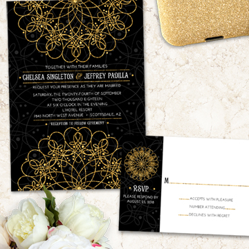 Elegant Mandala Faux Gold and Black Wedding Stationery Set