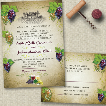 Vineyard Wine and Grapes Rustic Wedding Stationery Set
