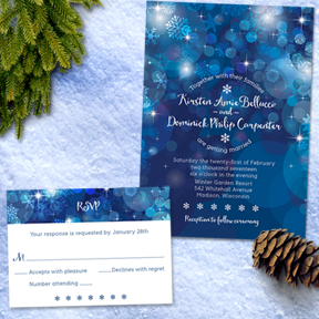 Snowflake Blue Bokeh Winter Wedding Set