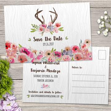 Watercolor Wildflowers and Antlers Faux Bois Save the Date