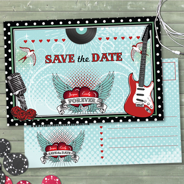 Rockabilly Music Polka Dot Wedding Save the Date
