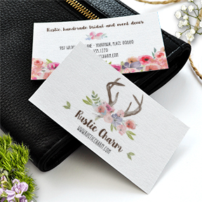 Wildflowers Antlers Faux Bois business card