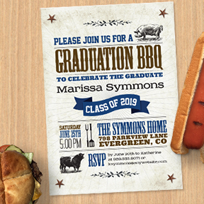 BBQ Graduation Party Invitation and Announcement