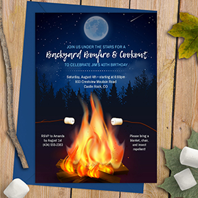 Backyard Bonfire Cookout, Birthday Party, BBQ, S'mores Invitation