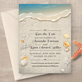 Water's Edge Shells and Sand Beach Save the Date Card
