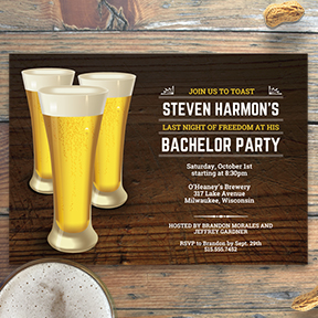 Round of Beer Rustic Bachelor Party Stag Night Birthday Party Invitation