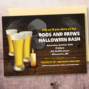 Boos and Brews halloween party invitation