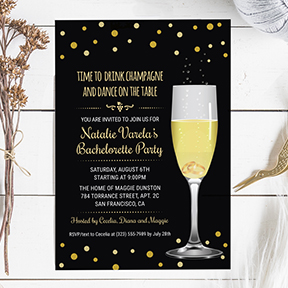 Wedding Rings Champagne Glass Gold Glitter Look Bachelorette Party Hens Night Invite