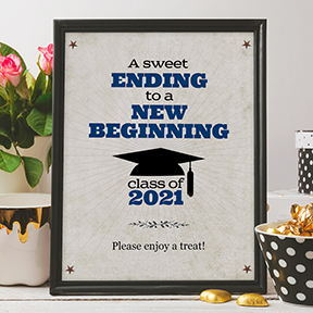 Rustic Blue Graduate A Sweet Ending to a New Beginning Printable Graduation Signs