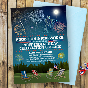 Outdoor Fireworks Picnic July 4th invitation