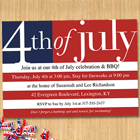 US Flag 4th of July party invitation