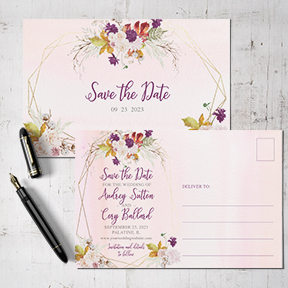 Rustic Fall Rose Frame Watercolor Wedding Save the Date card