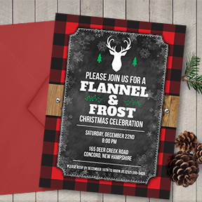 Flannel and Frost Holiday party invitation