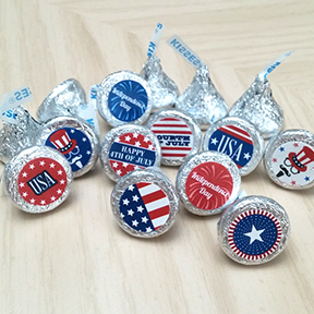 Independence Day Hershey Kiss labels