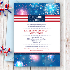 Red White and Due Fireworks July 4th party invitation
