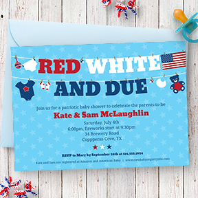 Red, White and Due baby shower invitation