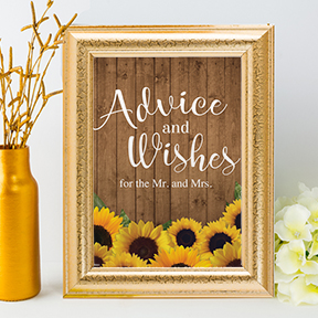 Rustic Sunflowers Advice and Wishes Wedding or Event Sign