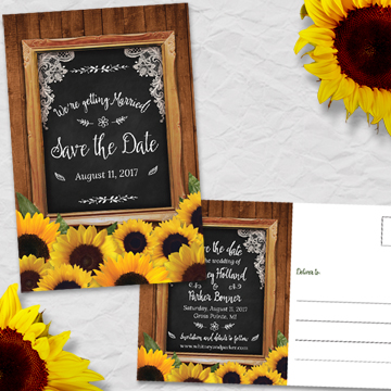 Rustic Chalkboard Frame Sunflower Save the Date Postcard or Flat Card
