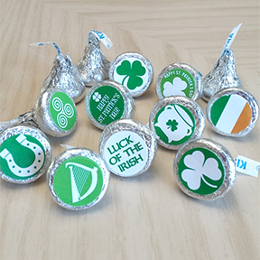 St Patrick's Day Hershey Kiss labels