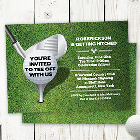 Tee Off Golf Ball Bachelor Party Golfing Outing Invitation, Bachelor Party