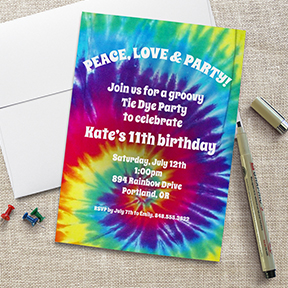 Groovy Tie Dye Hippie Party Invitation, Birthday, Bachelorette, or Costume Party
