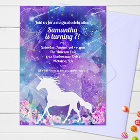 Magical Unicorn Birthday Watercolor Floral Party Invitation