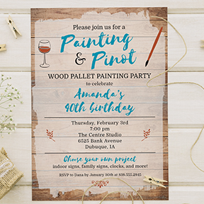 Wood Pallet Sign Painting Party Invitation, for Birthday, Shower, Girls Night Out