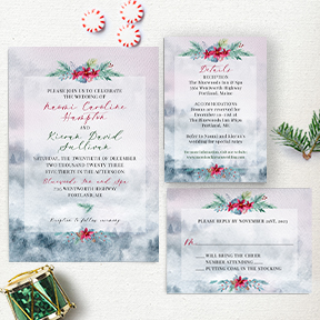 Watercolor Misty Forest Christmas Wedding Stationery suite