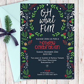 Oh What Fun Retro Christmas Party Invitation